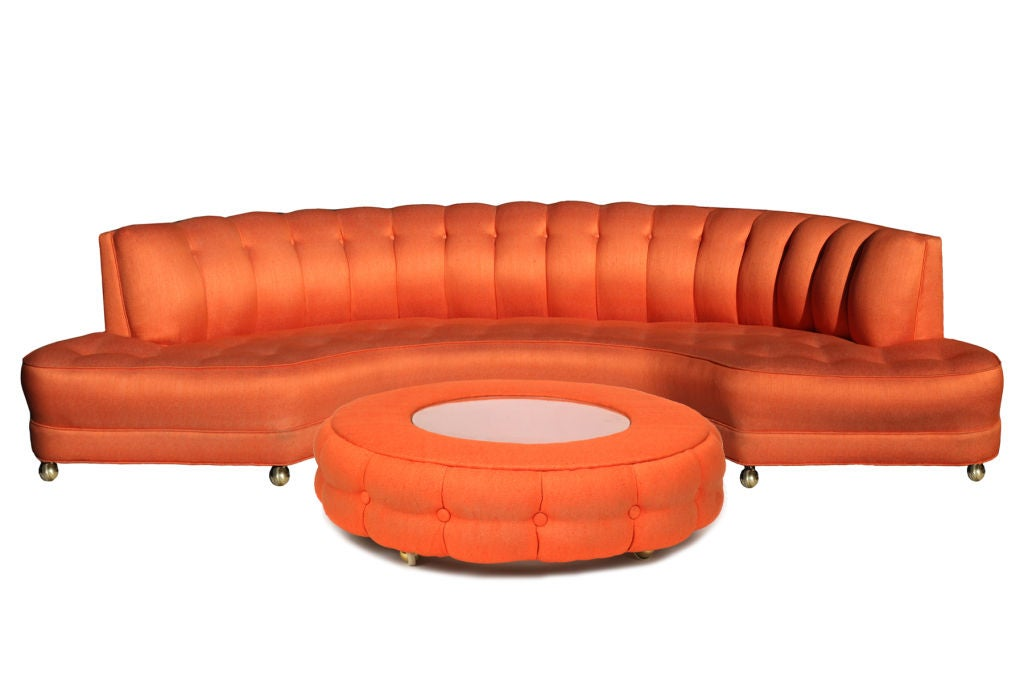 custom 1950 39 s orange sofa and ottoman at 1stdibs. Black Bedroom Furniture Sets. Home Design Ideas