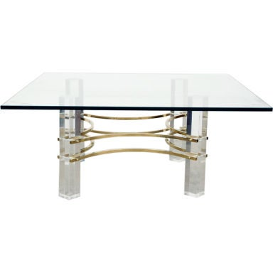Decorative Lucite Brass Cocktail Table