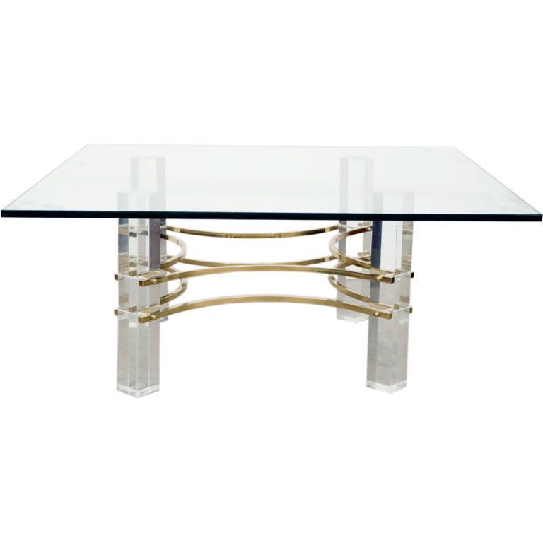 Decorative lucite and brass cocktail table for sale at 1stdibs for Lucite and brass coffee table