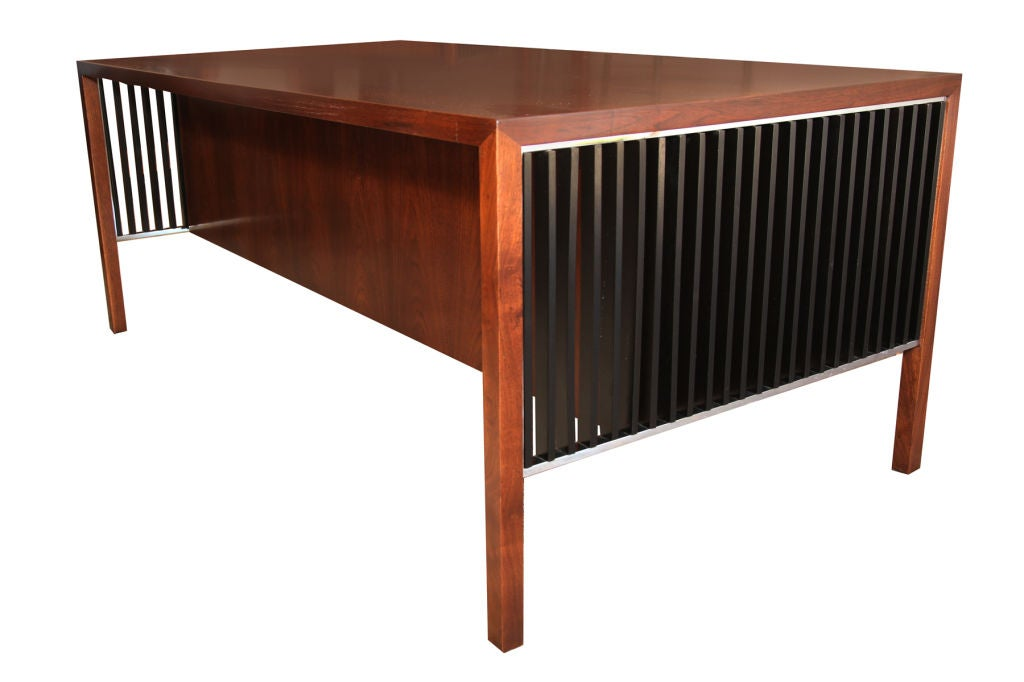 Wood Lehigh Leopold Executive Desk in Walnut For Sale