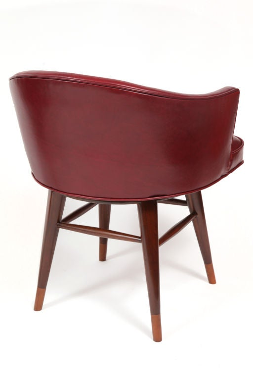 Leather Swivel Chairs By Edward Wormley For Dunbar At 1stdibs