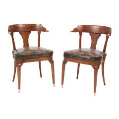 Mahogany and Copper Occasional Chairs