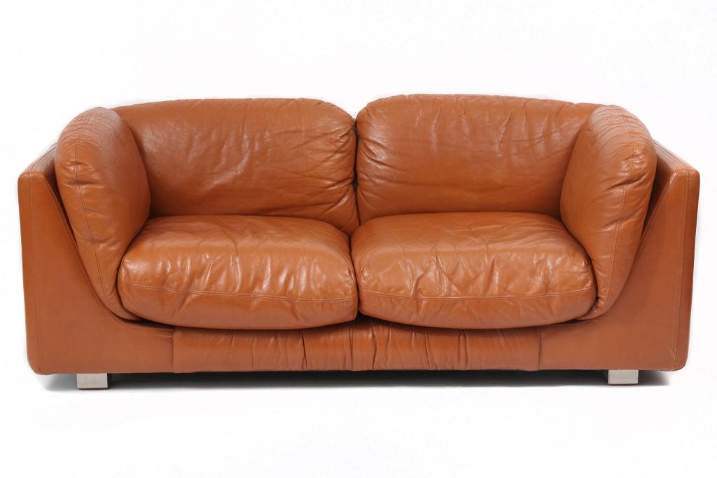 Ordinaire Italian Butterscotch Leather Desede Sofa U0026 Ottoman For Sale