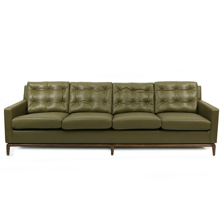 fern green leather and walnut sofa at 1stdibs