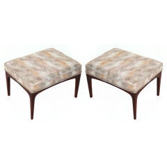 Pair of Metallic Snakeskin Leather & Walnut Stools