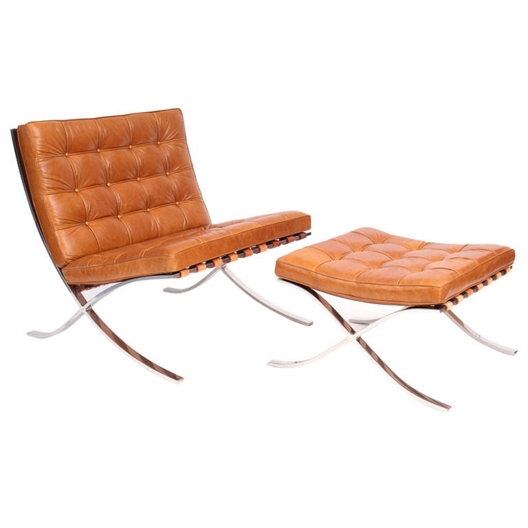 early knoll mies van de rohe barcelona chair and ottoman. Black Bedroom Furniture Sets. Home Design Ideas