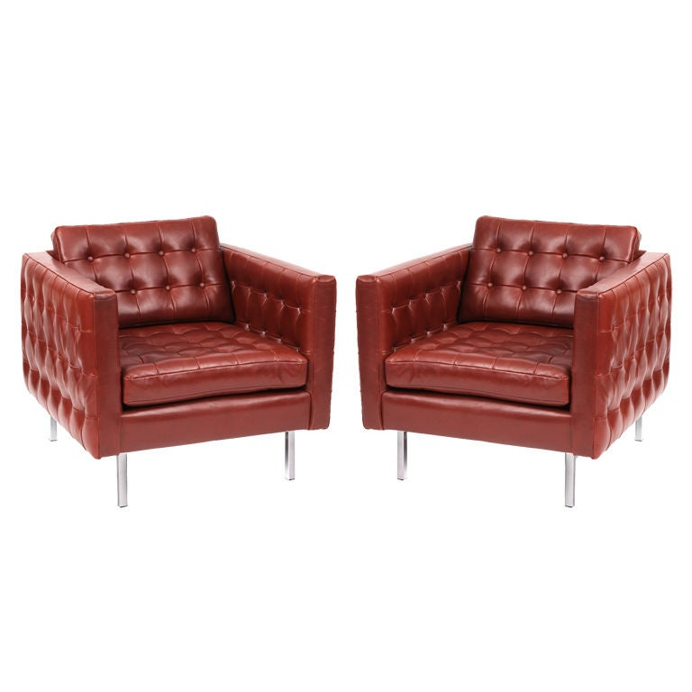 Tufted leather and chrome lounge chairs at 1stdibs