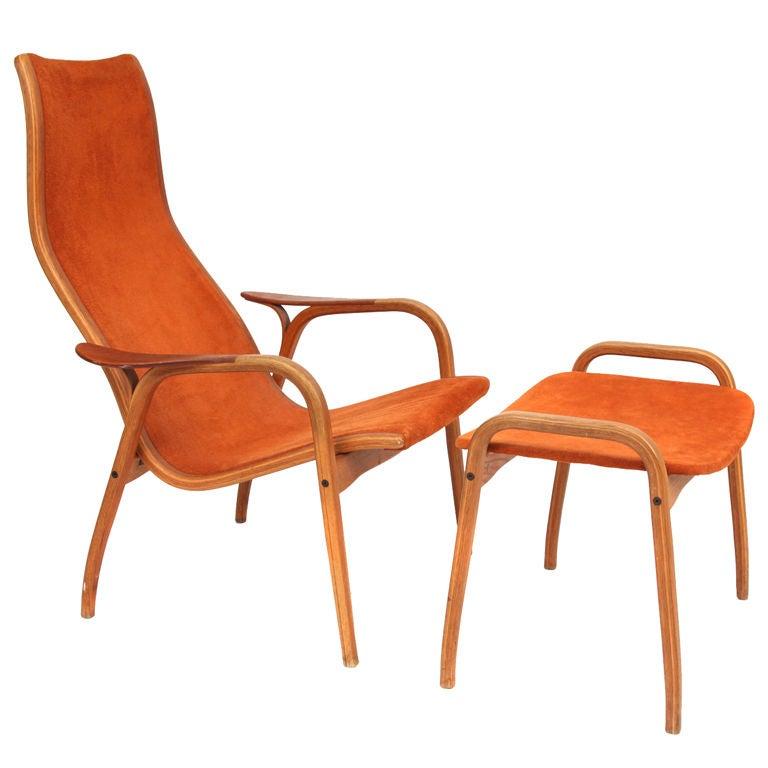 Yngve Ekstrom Lamino Chair And Ottoman At 1stdibs