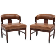 Mahogany & Chestnut Leather Occasional Chairs