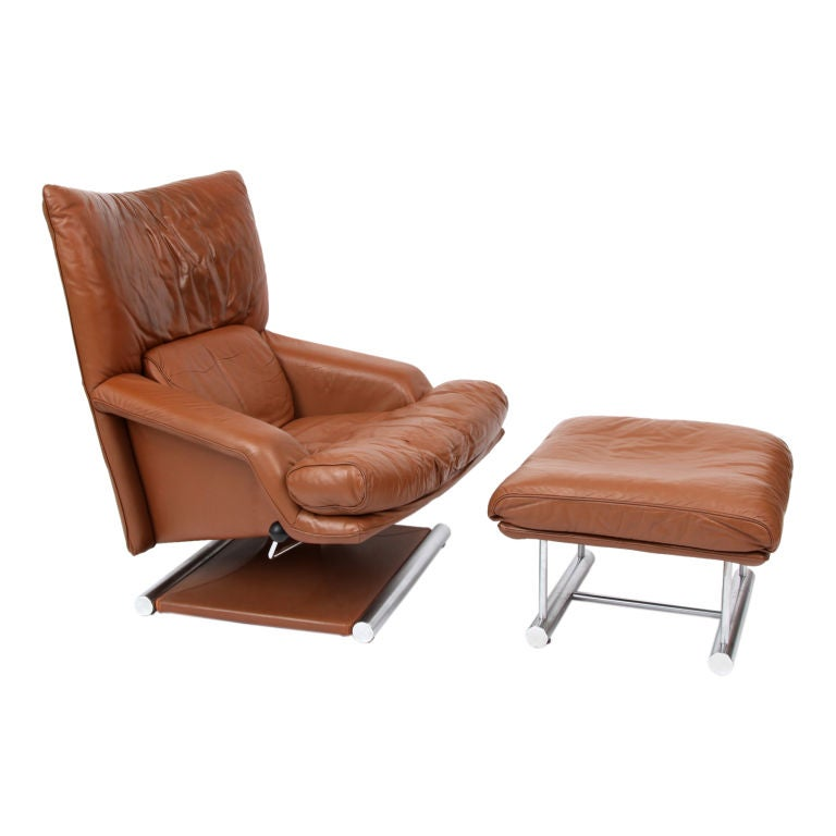 Rolf Benz Swivel Lounge Chair And Ottoman At 1stdibs