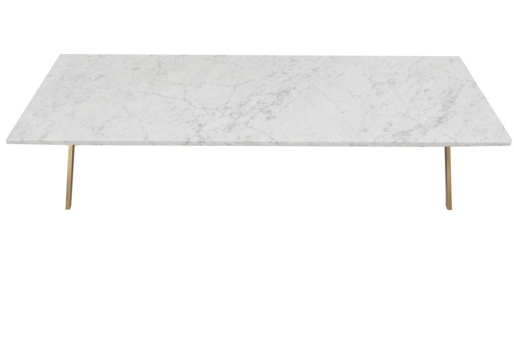 Carrera Marble And Bronze Cocktail Table At 1stdibs