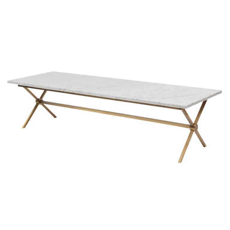 Carrera marble and bronze cocktail table at 1stdibs for Table carrera