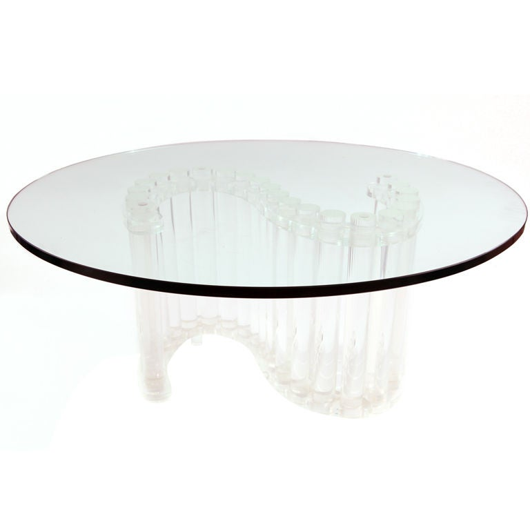 Glamorous Free Form Lucite And Glass Cocktail Table At 1stdibs