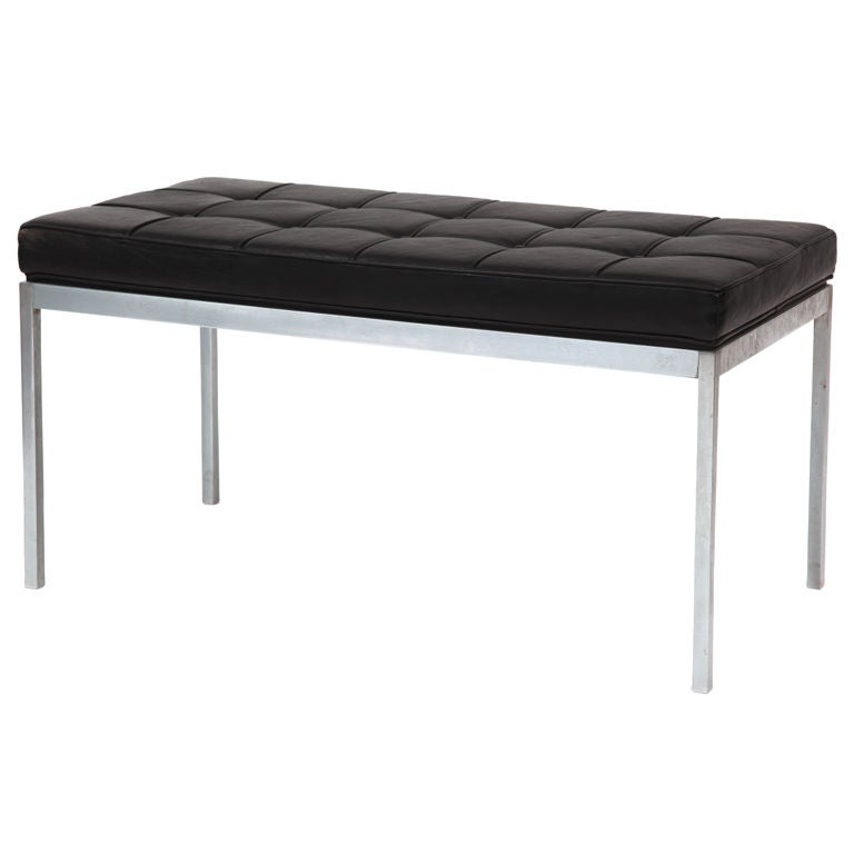 Early Florence Knoll Leather And Chrome Bench At 1stdibs