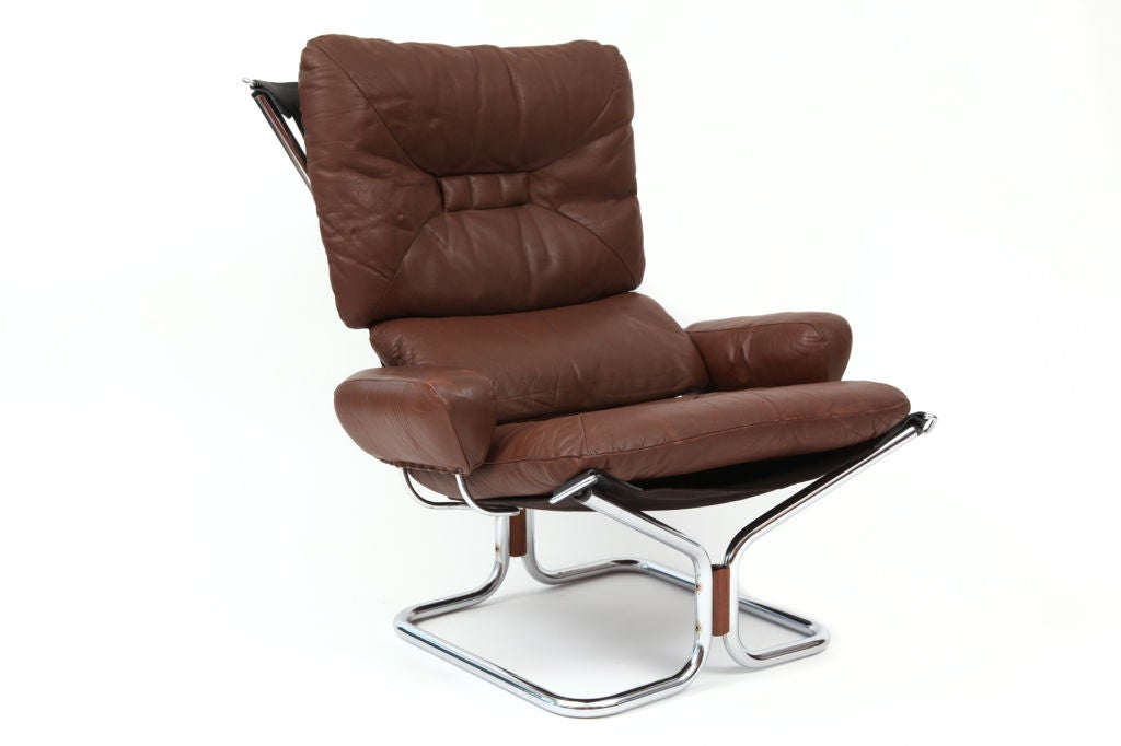 Seventies Rosewood Chrome And Leather Sling Chairs At 1stdibs