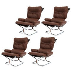 Seventies Rosewood Chrome & Leather Sling Chairs
