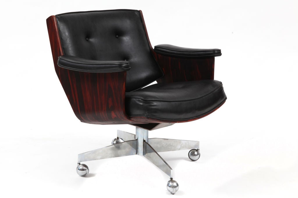 rosewood leather and chrome office chairs at 1stdibs