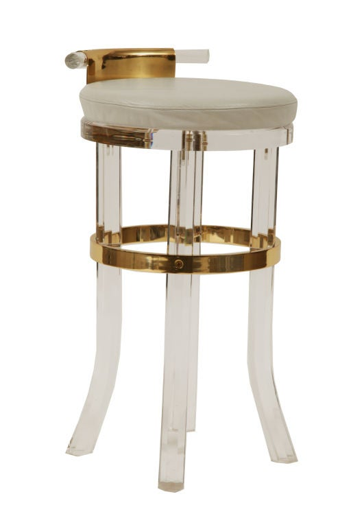 Lucite And Brass Counter Stools At 1stdibs