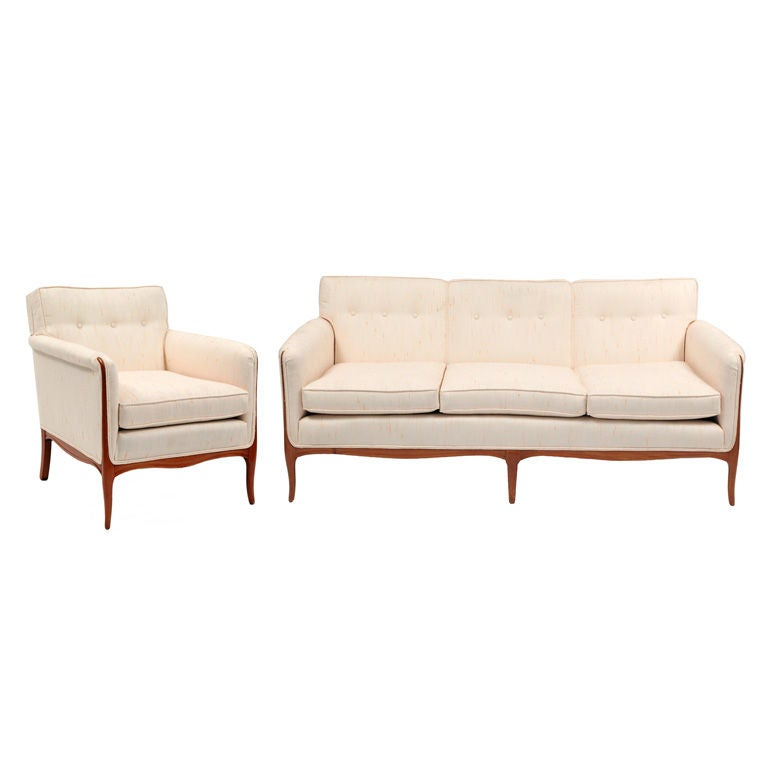 Elegant Cabriolet Leg Sofa and Lounge Chair at 1stdibs