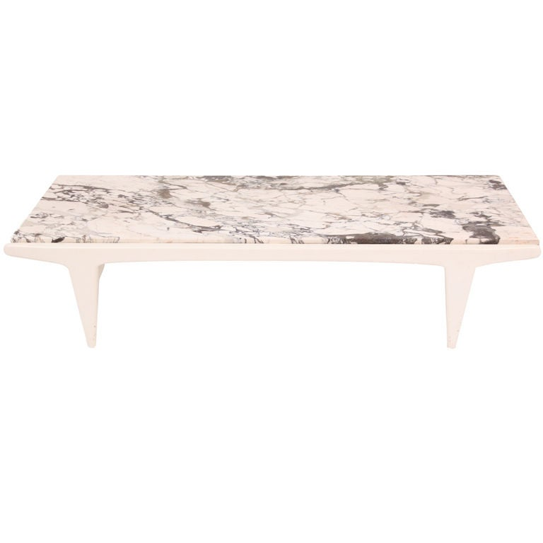 White Lacquer And Marble Italian Cocktail Table At 1stdibs