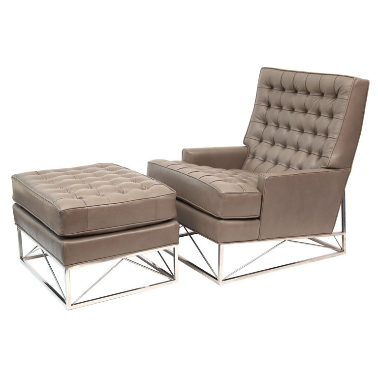 Tufted Leather Lounge Chair and Ottoman at 1stdibs