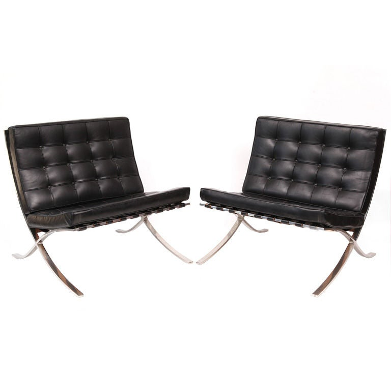 early knoll mies van der rohe barcelona chairs at 1stdibs. Black Bedroom Furniture Sets. Home Design Ideas
