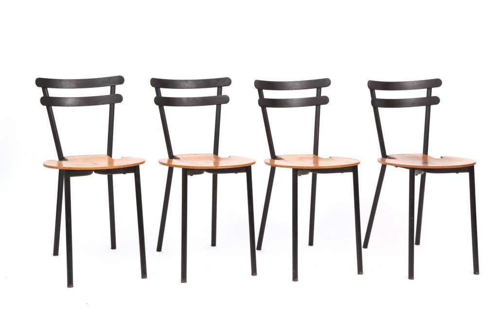 Set Of Four Sixties Stackable Black Metal And Oak Dining Chairs For Sale At 1