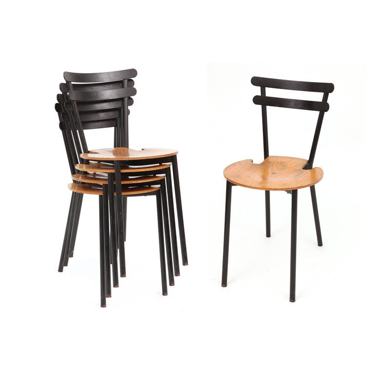 Set of Four Sixties Stackable Black Metal and Oak Dining ...