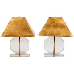 Lucite & Brass Lamps with Custom Gold Leaf Shades
