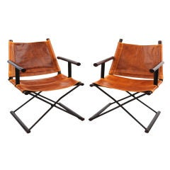 Rosewood Iron & Leather Sled Chairs