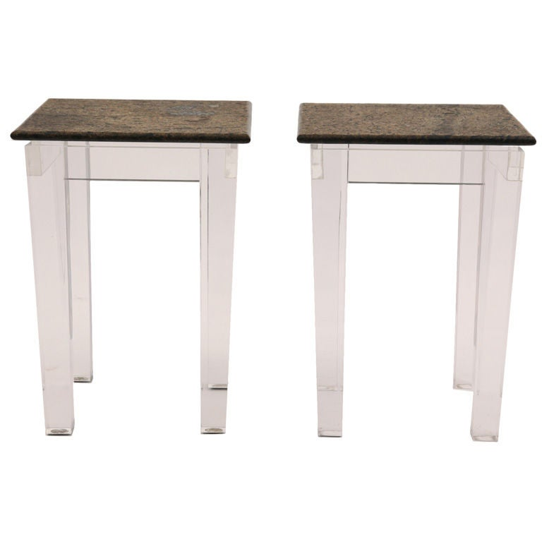 Elegant Lucite and Granite Side Tables at 1stdibs