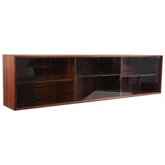 Brazilian Rosewood and Glass Floating Wall Credenza