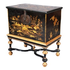 Gilt and Black Japanned Box on Stand