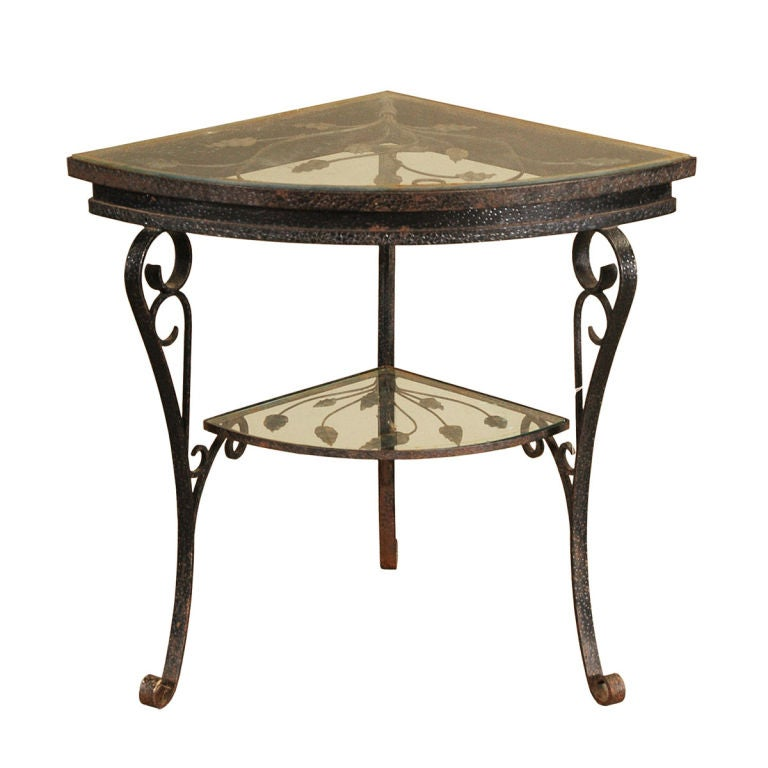 Wrought iron corner table at 1stdibs for Wrought iron side table