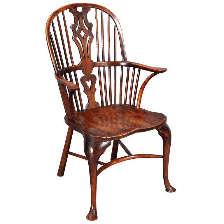 A Yew Wood And Elm Windsor Chair With Cabriole Legs At 1stdibs