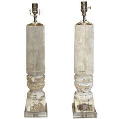 Pair Of Antique Baluster Lamp Bases