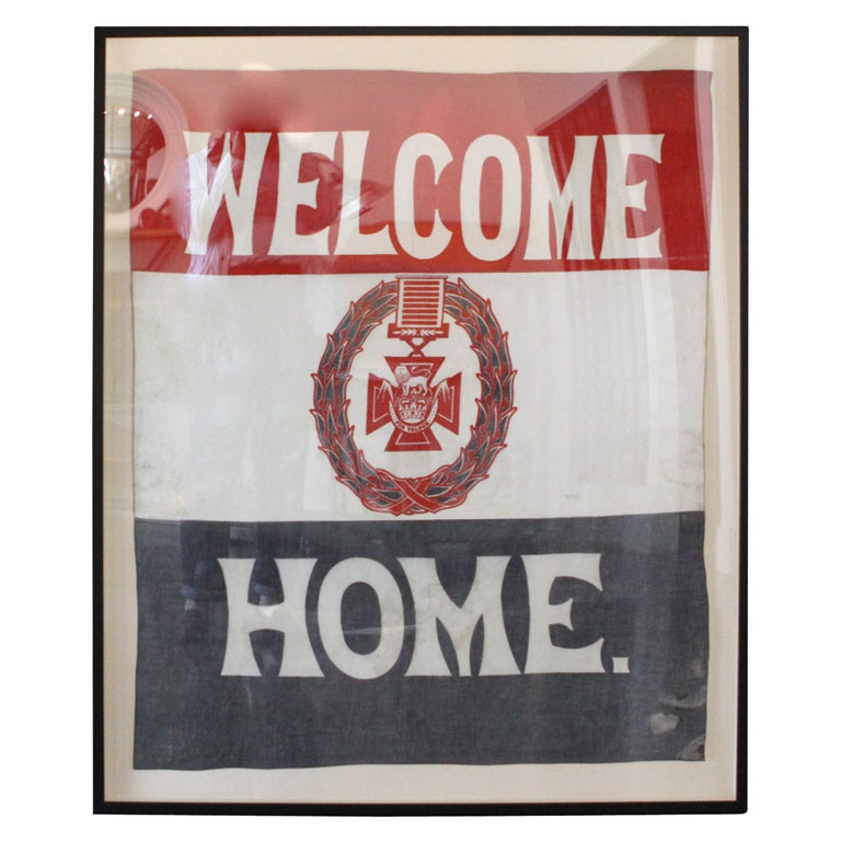 Vintage framed english welcome home flag at 1stdibs for Patriotic welcome home decorations