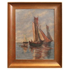 Original Vintage Sailboat Painting