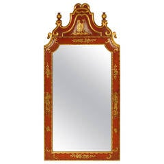 Red Chinoiserie Decorated Mirror