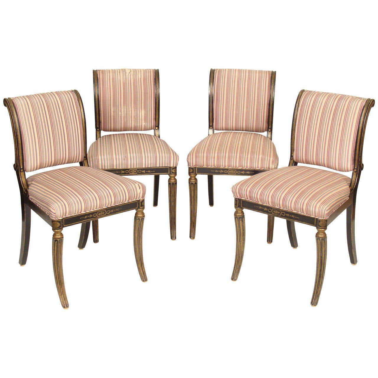 Set Of Four English Regency Style Chairs At 1stdibs