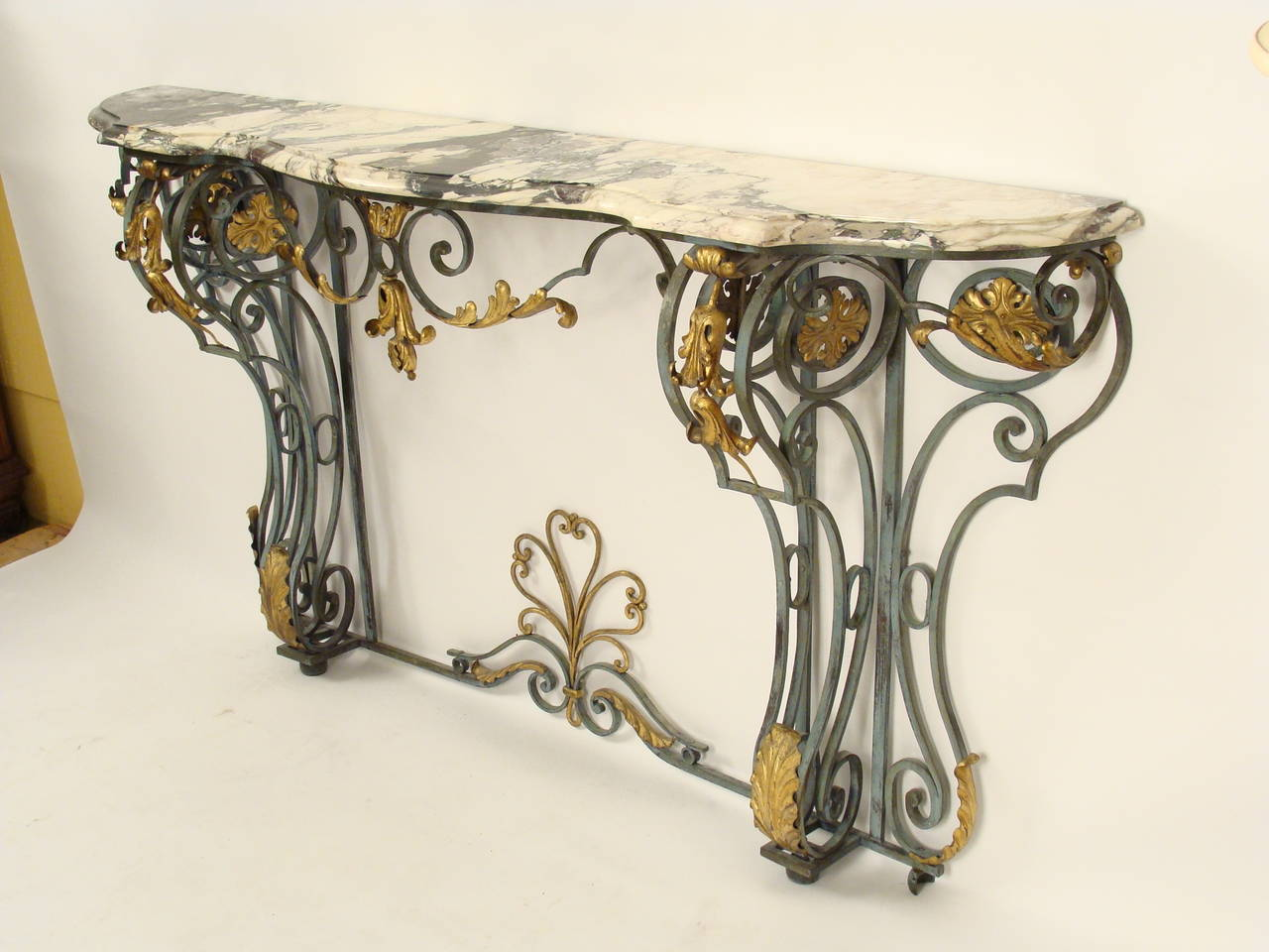 Painted And Gilt Wrought Iron Console Table At 1stdibs