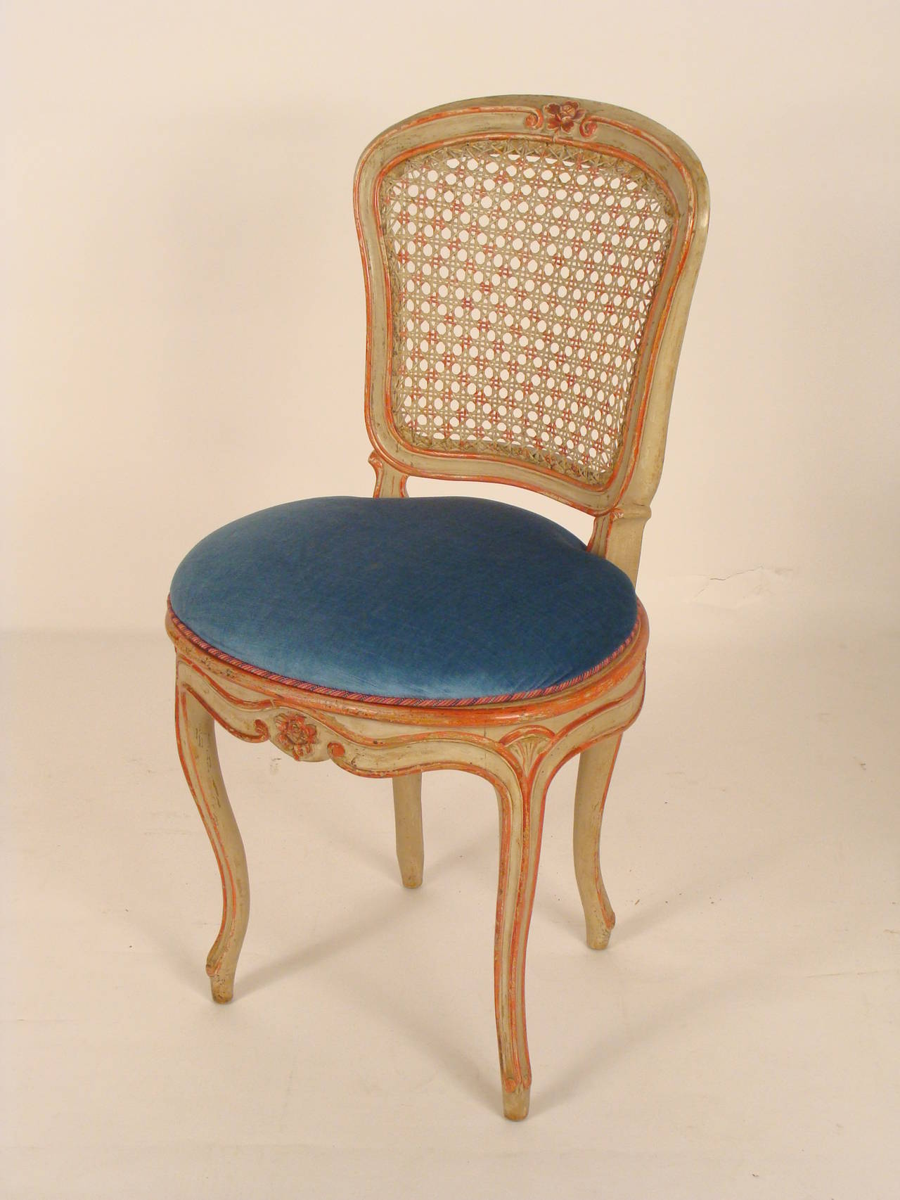set of eight painted louis xv dining room chairs with cane backs four
