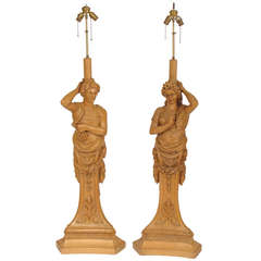 Carved Figural Lamps