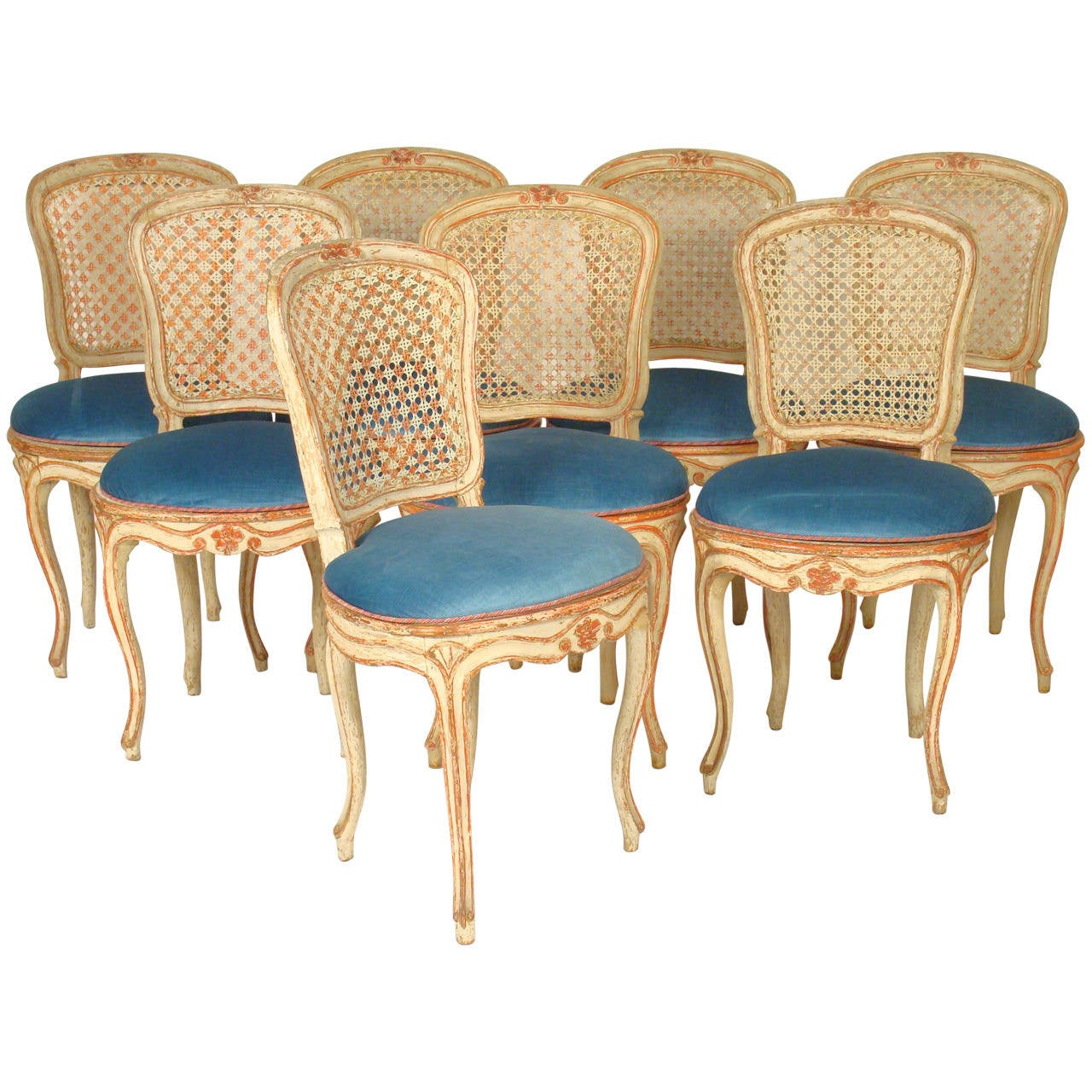 this set of eight painted louis xv dining room chairs is no longer