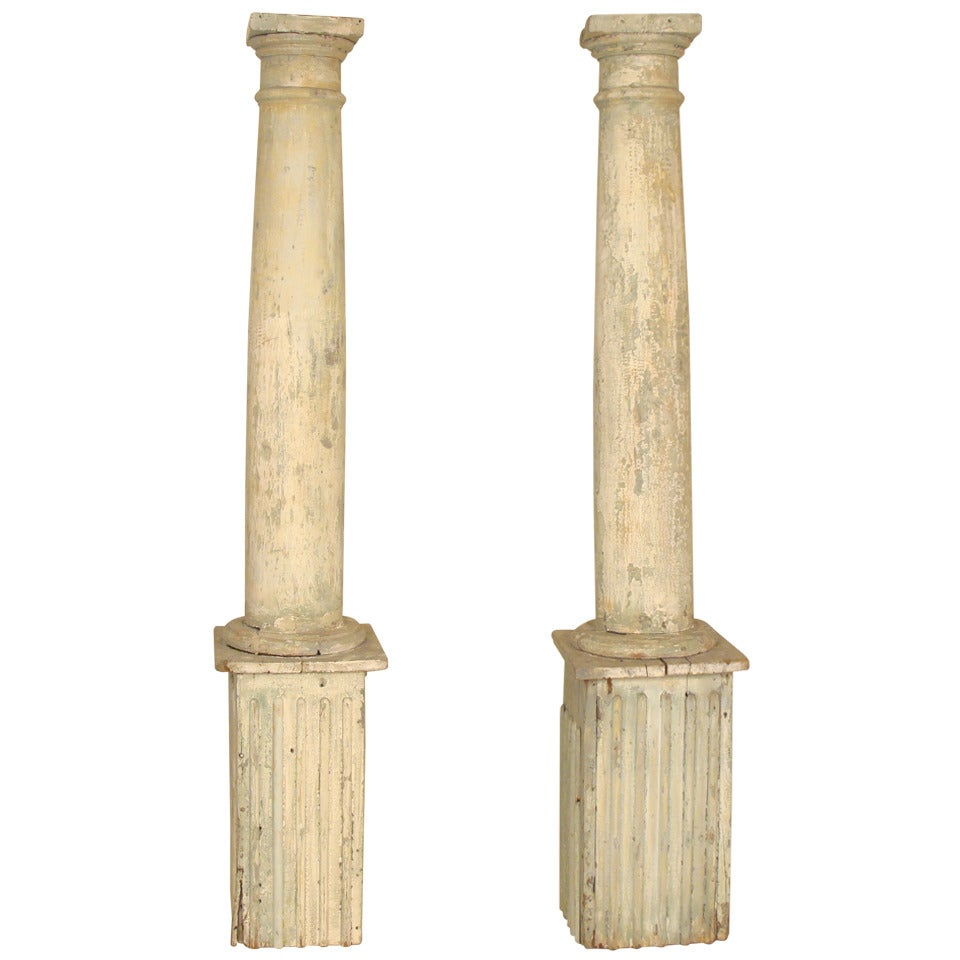 Pair of Crusty Painted Columns