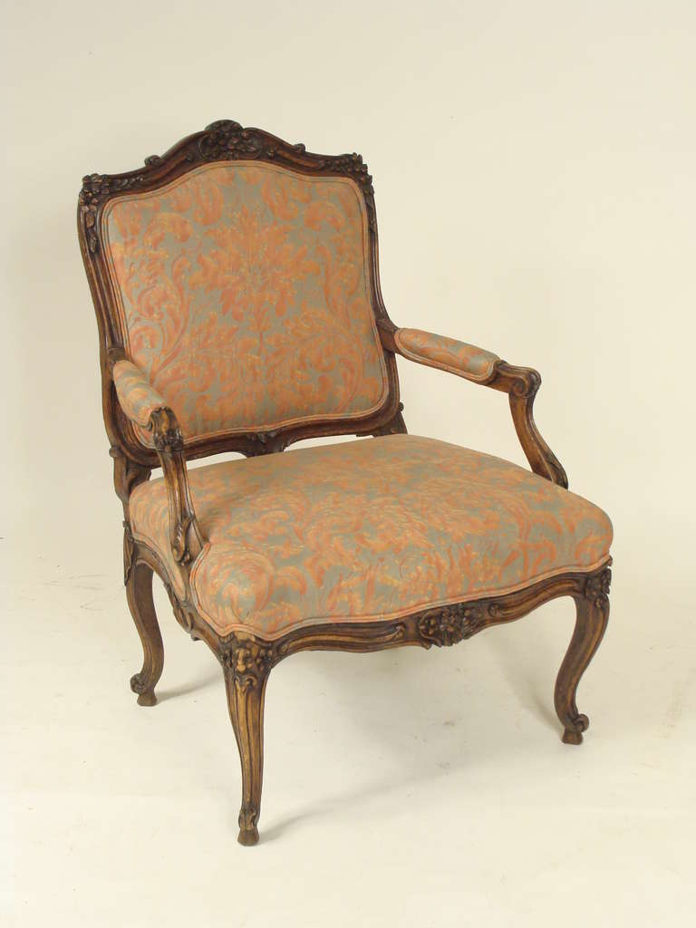 Louis xv style fauteuil with fortuny upholstery at 1stdibs - Fauteuil style louis xv ...