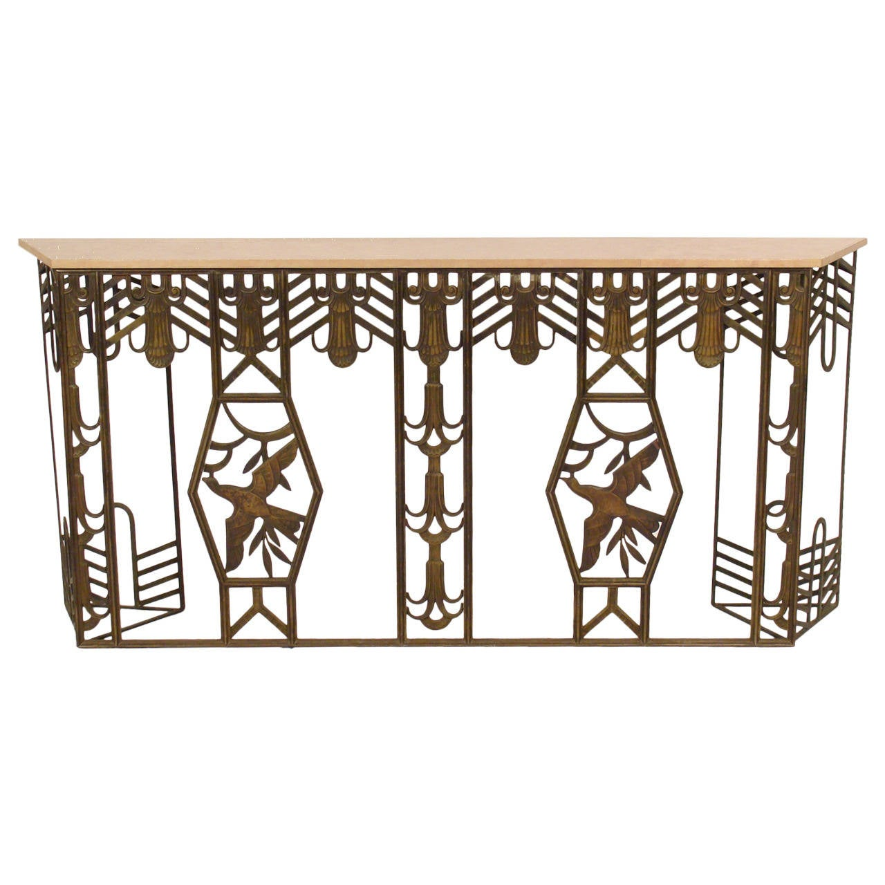 art deco style bronze console table at 1stdibs. Black Bedroom Furniture Sets. Home Design Ideas