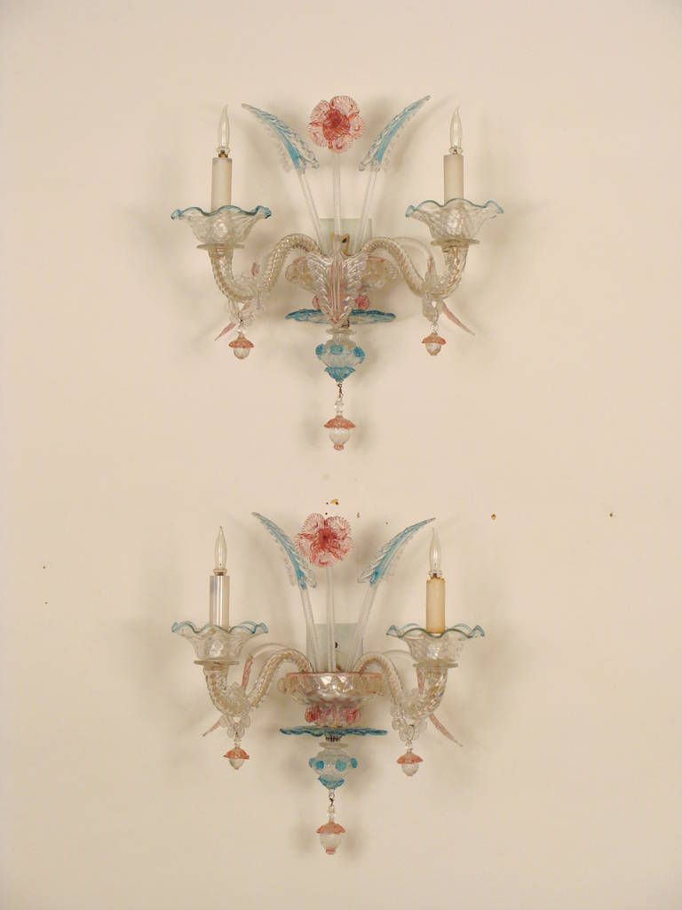 Pair of Murano Glass Wall Sconces For Sale at 1stdibs