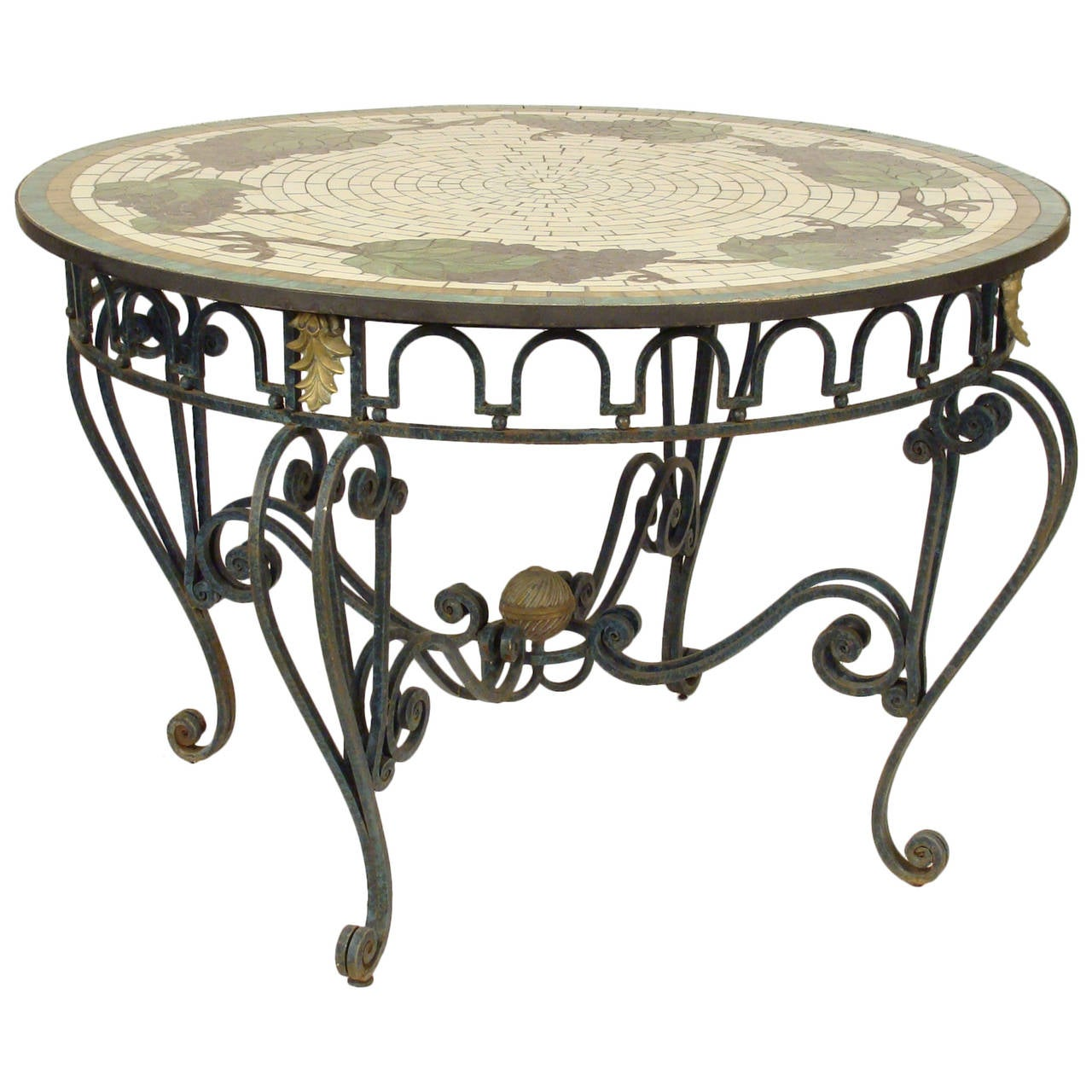 Center Table With Glass : Wrought Iron and Leaded Glass Center Table For Sale at 1stdibs
