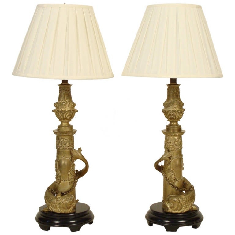 Pair of Gilt Bronze Dolphin Form Lamps